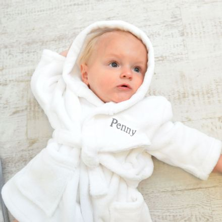 Personalised Soft Baby Dressing Gown In White